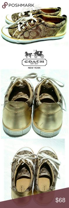 COACH TAN & GOLD BARRETT SNEAKERS COACH TAN & GOLD BARRETT SNEAKERS #F00071E10 Pre-Loved & in Great Condition  *.  Tan & Gold *.  Size 8 *.  Very Clean Inside & Out *.  Has a Mark on One Back Heel .See Pictures Coach Shoes Sneakers