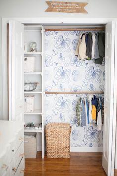 Home // Kids' Closet Makeovers & Tips for Installing Removable Wallpaper - Lauren McBride Smart Closet, Kid Closet, Closet Bedroom, Kids Bedroom, Trendy Bedroom, Closet Ideas, Closet Office, Kids Rooms, Toddler Closet Organization