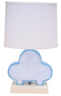 Blue Car Character Personalized Ceramic Figure Lamp