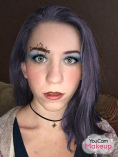 ME blue hair, makeup, face paint, photo edit, YouCam Makeup