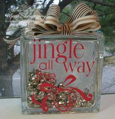 Jingle Bells Glass Block by Card