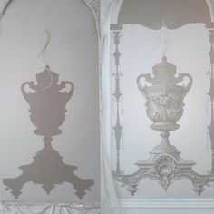 Wall Painting Decor, Stenciled Floor, Grisaille, Acanthus, Oil Painting Abstract, Paint Finishes, Candle Sconces, Wall Murals, Wall Lights