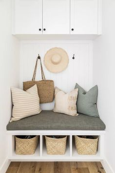 21 Mudroom Storage and Organization Ideas Walk In Closet Design, Closet Designs, Hall Closet Organization, Organization Ideas, Storage Ideas, Playroom Lounge, Ceiling Shelves, Girl Bathrooms, Dining Nook