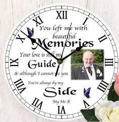 personalised remembrance photo clock, perfect addition to any home. Personalized Clocks, Photo Clock, Photo Memories, Bereavement, Own Home, First Love, Names, Messages, Photograph