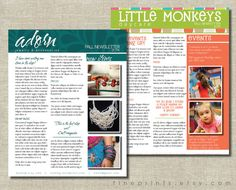 custom newsletter design for your small business, etsy shop, organization, blog, school, team, etc.  (PDF for you to print) newsletter templates also available