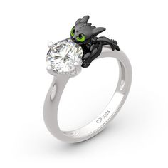 """Jeulia Hug Me """"Your Dragon"""" Round Cut Sterling Silver Ring - Jeulia Jewelry Engagement Wedding Ring Sets, Perfect Engagement Ring, Wedding Jewelry, Wedding Rings, Silver Rings Online, Diamond Bands, Fashion Rings, Jewelry Gifts, Jewellery"""