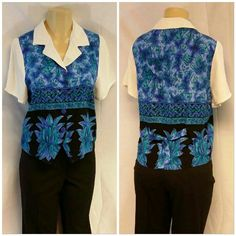 """TR BENTLEY Westkit Vest Hem Dressy Top size M TR BENTLEY Westkit Vest Hem Dressy Top, size M, notched white collar,  4 button front center closure, self-tie back center, blue green purple black body with white collar and short sleeves, silky feminine material, machine washable, body 100% rayon, collar and sleeves 53% acetate, 47% rayon,  23"""" length shoulder to hem, 19 3/4"""" bust laying flat, 8 1/2"""" sleeves, 14"""" shoulder seam to shoulder seam TR BENTLEY  Tops Blouses"""
