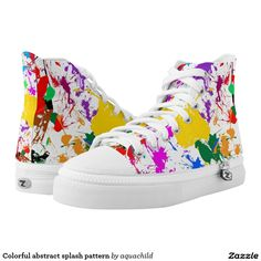Colorful abstract splash pattern printed shoes