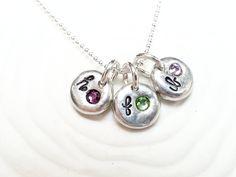 Personalized Birthstone Initial Necklace  Hand by larkandjuniper, $25.00