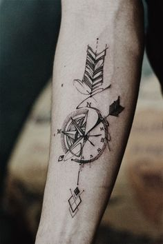 Arrow Compass Tattoo - Artwork by Outsider Tattoo