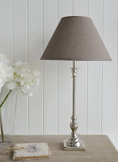 Nickel and grey tall table lamp. New England style furniture and accessories from The White Lighthouse Furniture - www.thewhitelighthousefurniture.co.uk