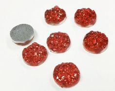 20 Resin Dome Seals Cabochon Round Red Glitter 12mm, 6698, 229 by vickysjewelrysupply. Explore more products on http://vickysjewelrysupply.etsy.com