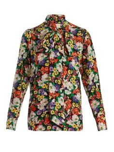 Tie-neck floral-print silk shirt   | Gucci | MATCHESFASHION.COM UK