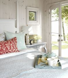 Cheerful Summer Interiors: 49 Astounding Fresh Summer Bedroom Designs : 49 Astounding Fresh Summer Bedroom Designs With White Bed Pillow Blanket Nightstand Clock Flower Lamp Wooden Wall Glass Door