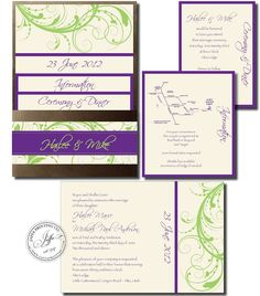 Purple & lime pocket wedding invitation, a stunning combination of colors we don't normally see.