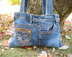 Upcycled Blue Jean  Purse by OutskirtsStudio on Etsy, $35.00