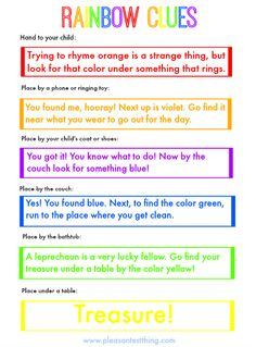 Go on a rainbow treasure hunt with free printable Rainbow clues! St. Patrick's Day activity for kids!