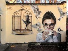 New Street Art by Izak One titled 'Good Morning to Spring' found in Estonia Murals Street Art, Street Art Graffiti, Graffiti Kunst, 3d Street Art, Amazing Street Art, Street Artists, Urban Street Art, Urban Art, Arte Banksy