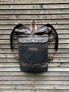 Waxed canvas backpack with detachable leather by treesizeverse