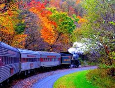 Beautiful Fall colors seen from the windows of a train... the sound of the train moving over the tracks... the billowy plumes of steam and smoke as they mingle with the trees... What else do you see, hear, feel, smell?