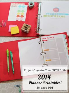 "This will be the year I get organized! - Awesome 2014 printable pack for your home management binder, personal planner, or sheets just to stick on the fridge... Includes menu planning, cleaning schedules, calendars and more in both 8.5"" x 11"" and 5.5"" x 8.5"" sizes."