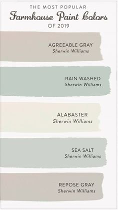 master bedroom paint colors Find the most popular farmhouse paint colors of From alabastar to agreeable gray, check out our list to help you decide the best color for y Farmhouse Paint Colors, Paint Colors For Home, Beach Paint Colors, Small Bedroom Paint Colors, Hallway Paint Colors, Best Bathroom Paint Colors, Colors For Kitchen Walls, Popular Kitchen Colors, Rustic Paint Colors