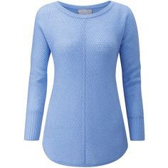 Pure Collection Gassato Cashmere Ribbed Jumper (245 BAM) ❤ liked on Polyvore featuring tops, sweaters, sky blue, patterned sweater, long sleeve sweater, cashmere jumpers, ribbed sweater and ribbed cashmere sweater