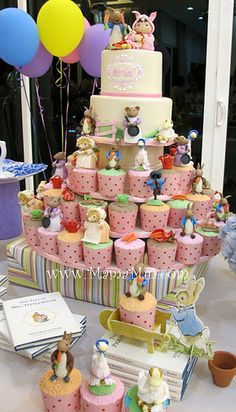 Beatrix Potter theme cake and cupcakes
