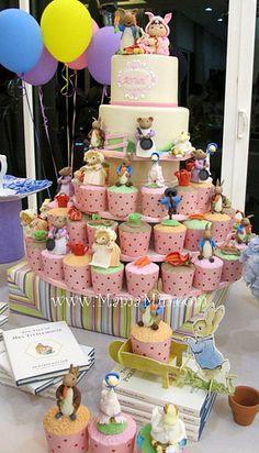 Beatrix Potter theme cake and cupcakes