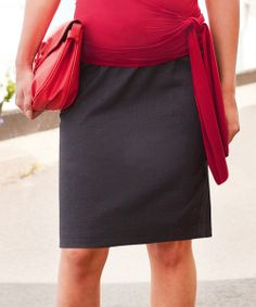 Charcoal Over-Belly Maternity Pencil Skirt