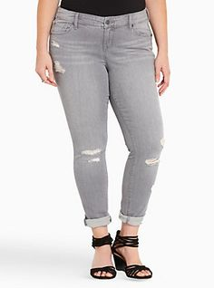 Torrid Skinny Jeans - Grey Wash with Destruction, OVERCAST