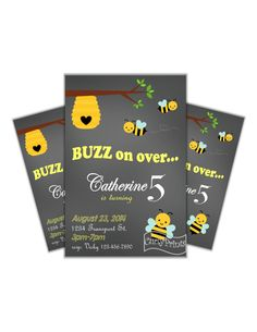 Chalkboard Bumble Bee Birthday Party Invitation DIY printable invite by CurlyPrints on Etsy https://www.etsy.com/listing/230554919/chalkboard-bumble-bee-birthday-party