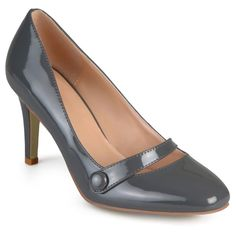 Women's Journee Collection Devi Classic Mary Jane Pumps - Grey 7.5