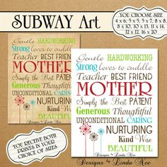 Printable MOTHER Typography  Subway Art Wall by DesignsbyLindaNee, Mother's Day Gift