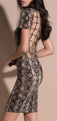 Snake Print Back Hollowed-Out Package Hip Dress