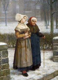 Returning from Mass, Brittany (1850-57). By George Henry Boughton (English painter, 1833-1905).
