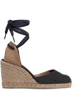 Wedge heel measures approximately 90mm/ 3.5 inches Midnight-blue and sand canvas Ties at ankle Imported