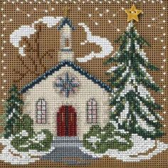 Stitched area of Country Church Cross Stitch Kit Mill Hill 2006 Buttons & Beads Winter: