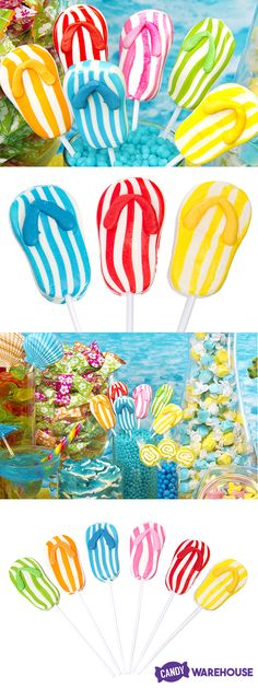 Striped flip flop lollipops in six fruity flavors, perfect for backyard parties, family barbecues, and trips to the beach! http://www.candywarehouse.com/products/flip-flop-lollipops-24-piece-box/