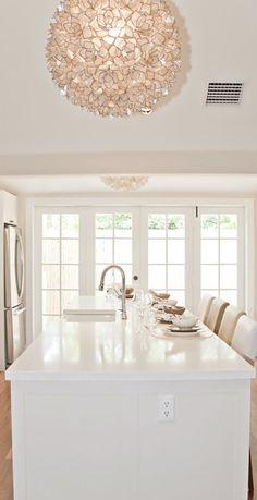 White kitchen - island and pendant