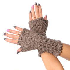 Fingerless mittens / Dark beige fingerless Long Cabled by MioLauma, $27.00