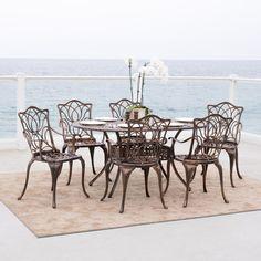 $725 Aluminum Christopher Knight Home Haitian Cast Aluminum Outdoor Dining Set (Set of 7) - Overstock.com
