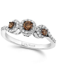 Le Vian 14k White Gold Ring, White and Chocolate Diamond 3-Stone Ring (1/2 ct. t.w.) - Wedding & Engagement Rings - Jewelry & Watches - Macy's