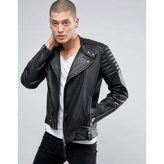 AllSaints Leather Biker Jacket (895 CAD) ❤ liked on Polyvore featuring men's fashion, men's clothing, men's outerwear, men's jackets, black, mens tall leather jacket, mens leather moto jacket, mens quilted leather biker jacket, mens quilted leather jacket and mens leather biker jacket
