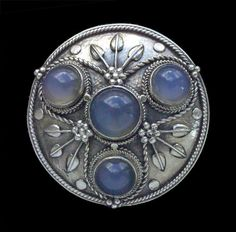 Arts & Crafts Brooch  Silver Chalcedony.  British, c.1905
