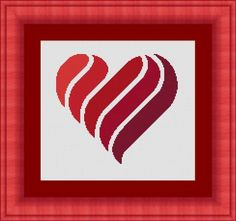 RED HEART/ coeur rouge- Counted cross stitch pattern /grille point de croix ,Cross Stitch PDF, Instant download , free shipping by LudivinePointDeCroix on Etsy https://www.etsy.com/listing/254438506/red-heart-coeur-rouge-counted-cross