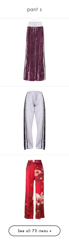 """pant s"" by trendybb ❤ liked on Polyvore featuring activewear, activewear pants, purple, track pants, pants, bottoms, trousers, red, high rise trousers and high waisted silk pants"