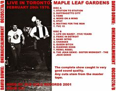 One Magical Moment Bootleg  Maple Leaf Gardens, Toronto, Ontario, Canada 26 February 1976  CD Tray Cover