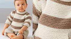 Sweat layette à rayuresLe premier sweat-shirt de bébé, un modèle adorable avec une poche kangourou, de belles rayures et un boutonnage sur les épaules, pour le côté pratique.