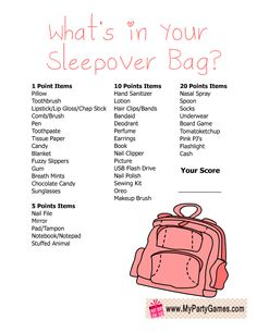 Free Printable What's in your Sleepover Bag? Slumber Party Game for Girls Free Printable What's in your Sleepover Bag? Slumber Party Game for Girls Free Printable What's in your Sleepover Bag? Slumber Party Game for Girls Birthday Sleepover Ideas, Sleepover Party Games, Sleepover Bag, Sleepover Activities, Birthday Party For Teens, Sleepover Games Teenage, Girls Slumber Parties, Sleepover Ideas For Teens, Diy Party Games For Tweens